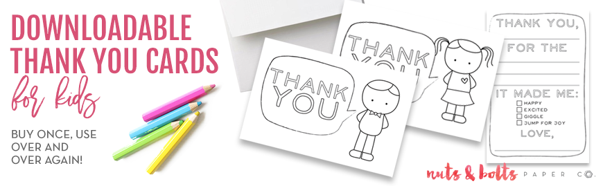 downloadable thank you cards for kids, printable thank you cards, kid thank you cards