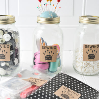 mason jar mending kit, gifts for mom, diy gifts for mom