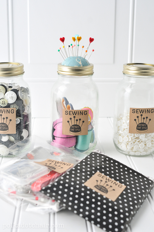 mason jar mending kit, gifts for mom, diy gifts for mom