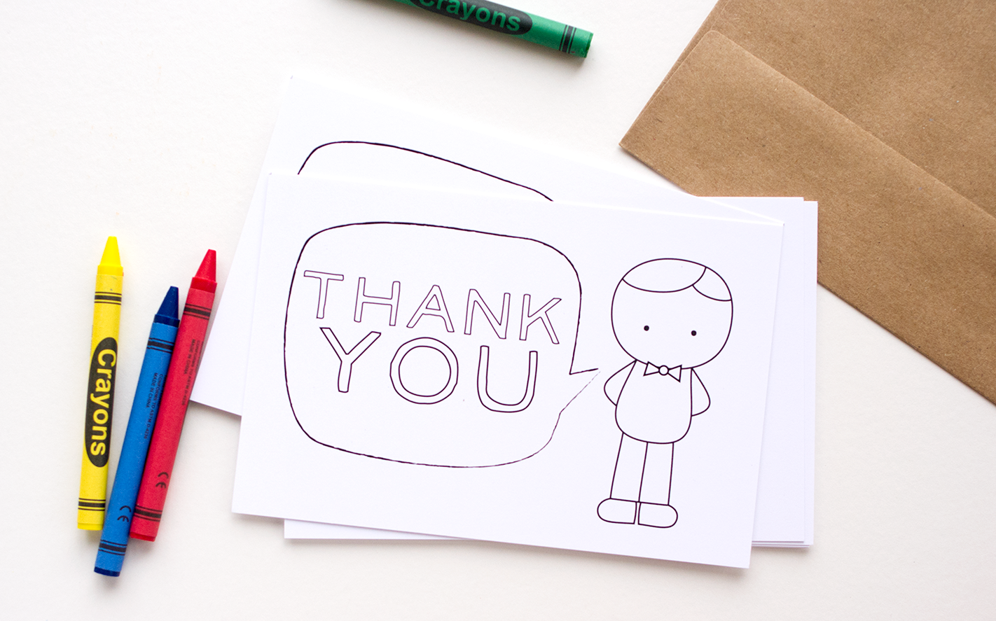Printable Color-in Thank You Cards for Kids - The Mombot