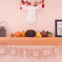 DIY autumn burlap banner | TheMombot.com