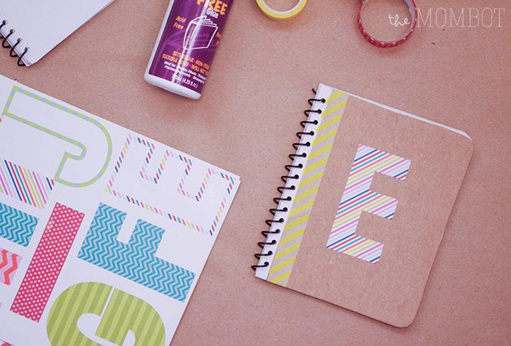 DIY monogrammed notebook, DIY mini notebook, DIY gift idea
