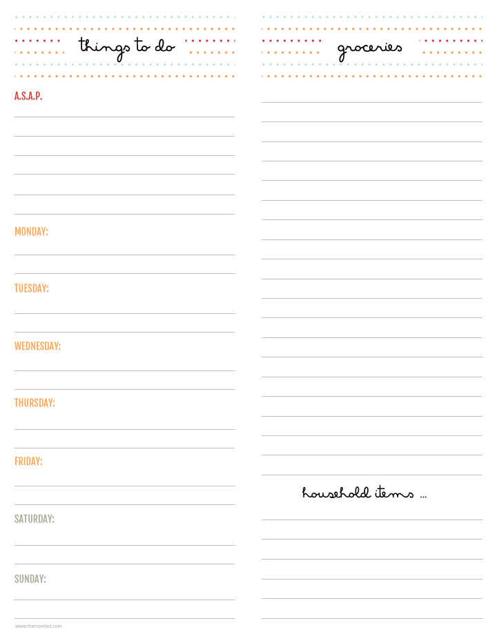 Free printable to-do and grocery list | TheMombot.com
