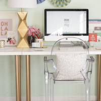 White & gold desk with lucite chair | TheMombot.com