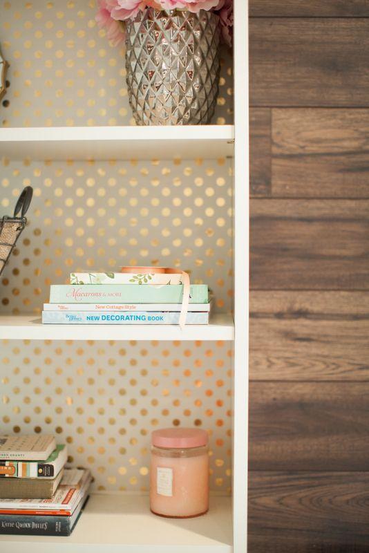polka dot backed bookshelf, white & gold office inspiration | TheMombot.com