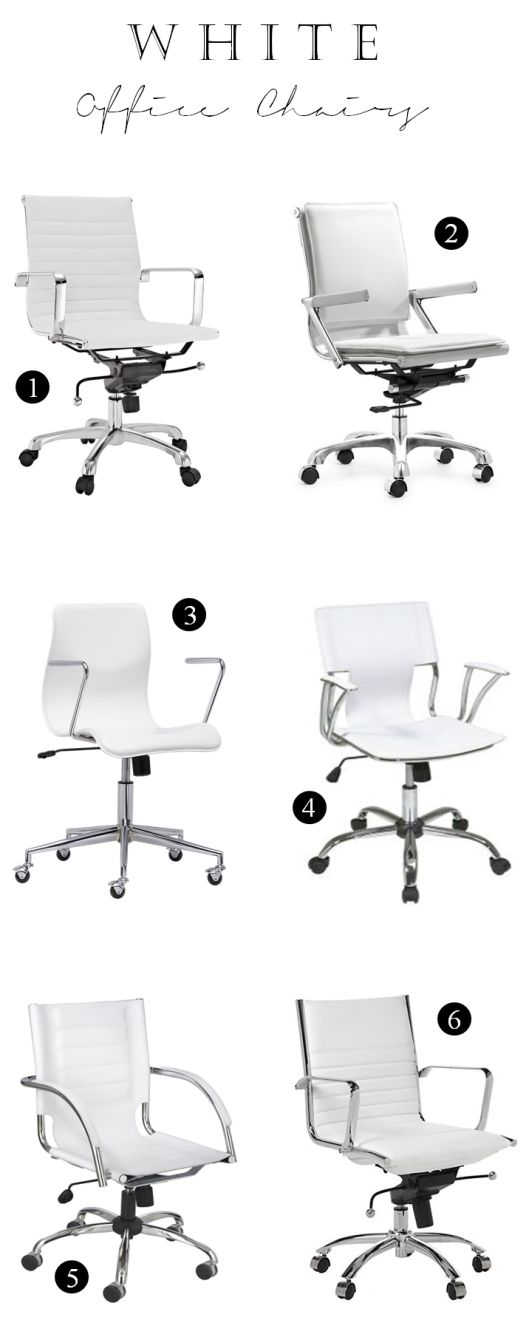 white office chairs, white & gold office inspiration | TheMombot.com