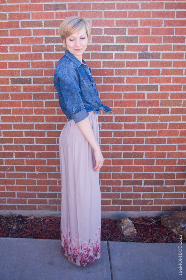 Maxi dress with knotted denim button down {spring style} on TheMombot.com