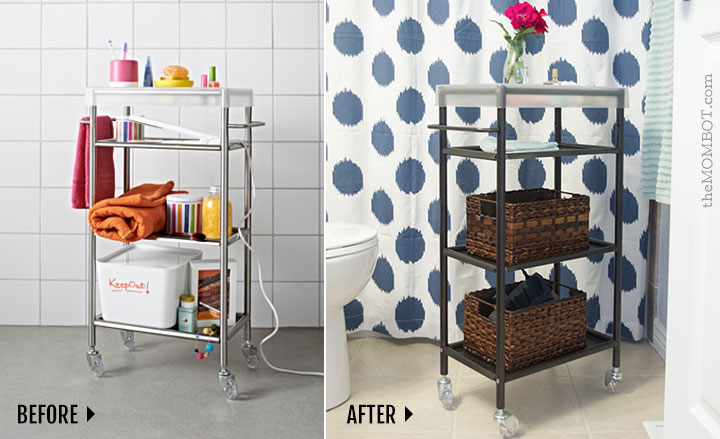 ikea bathroom cart hack | themombot.com