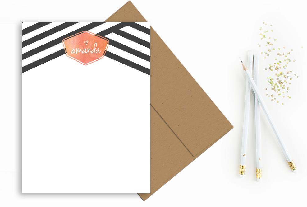 blkwhite-stripes-initial-notecard-etsy
