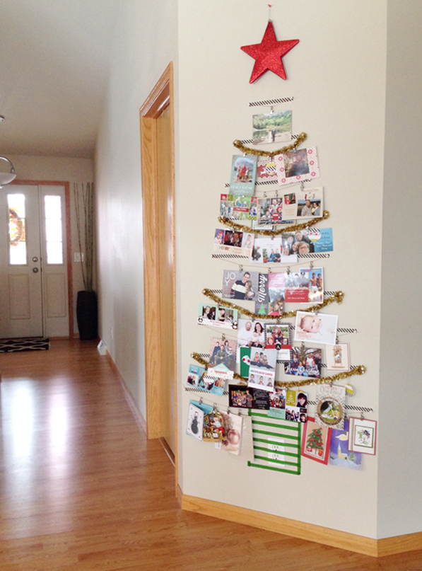 Christmas card display idea, Washi-Tape-Card-Tree2