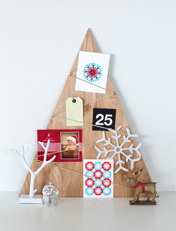 Christmas card display ideas, plywood-card-tree