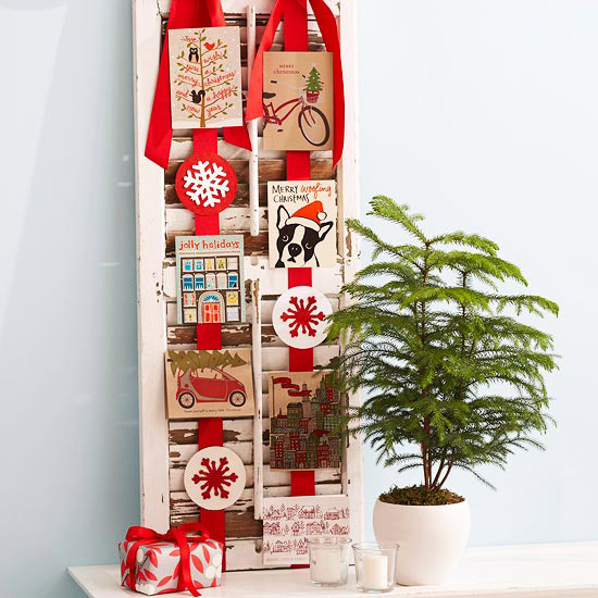 Christmas card display ideas, salvaged-shutter-card-display
