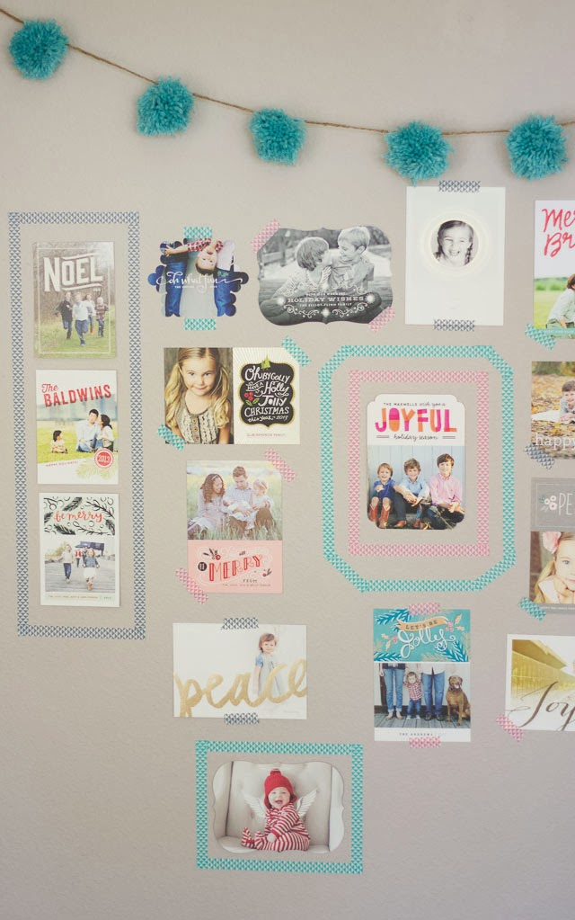Christmas card display ideas, washi-tape-frames