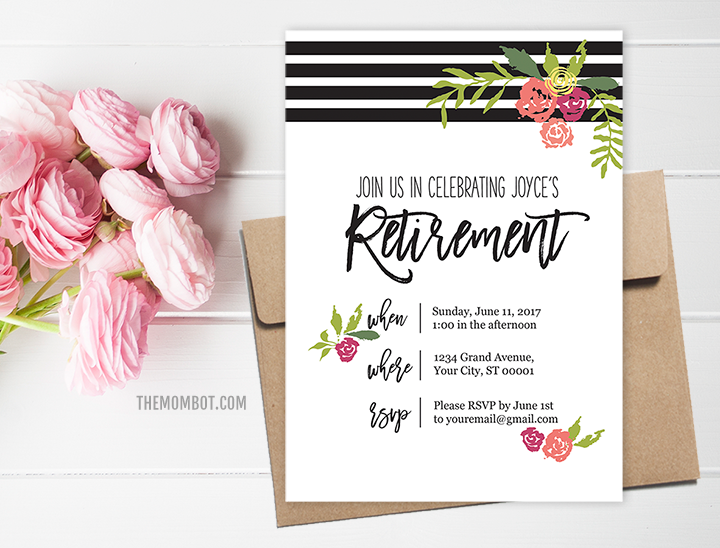Retirement party invitation, female retirement party invitation, retirement party ideas, classy retirement party, black white florals