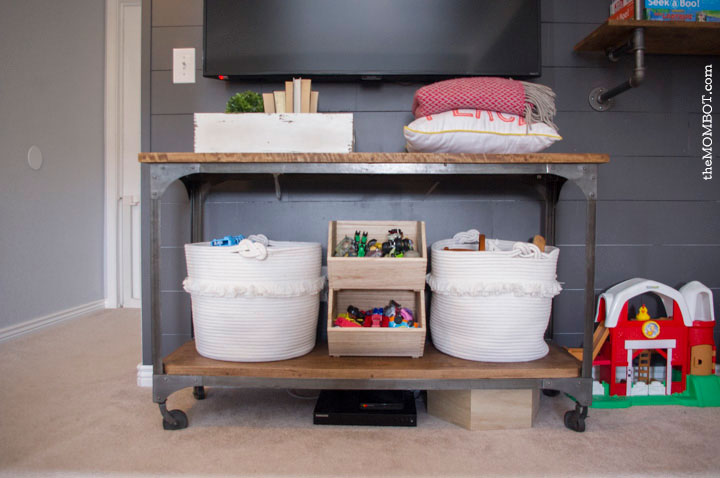 Industrial pipe shelving unit, fixer upper style, fixer upper, joanna gaines, pipe shelving, shiplap, diy shiplap, easy shiplap, how to shiplap, dark gray shiplap, pipe shelving unit DIY