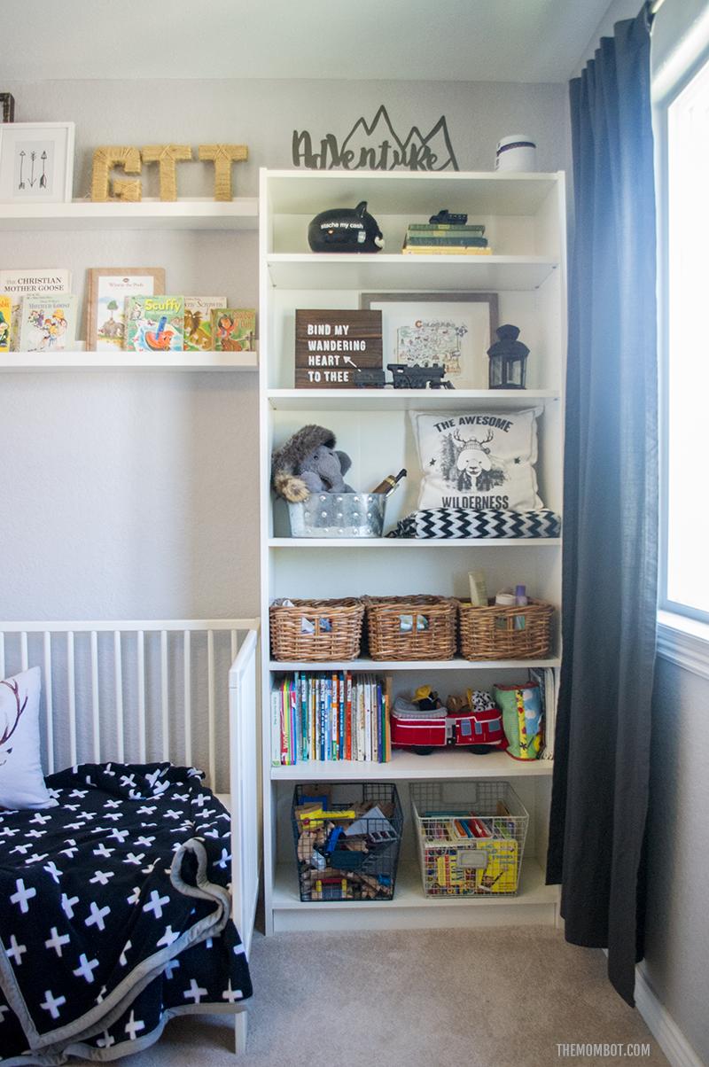 Black and white nursery, tribal nursery, boy room, black and white boy room, tribal boy room, modern boy room