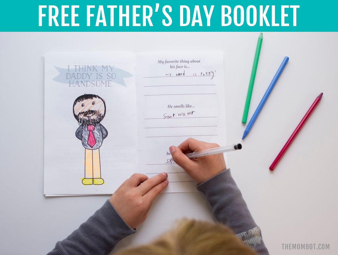 graphic relating to Father's Day Questionnaire Printable known as Cost-free Fathers Working day Booklet Down load - The Mombot