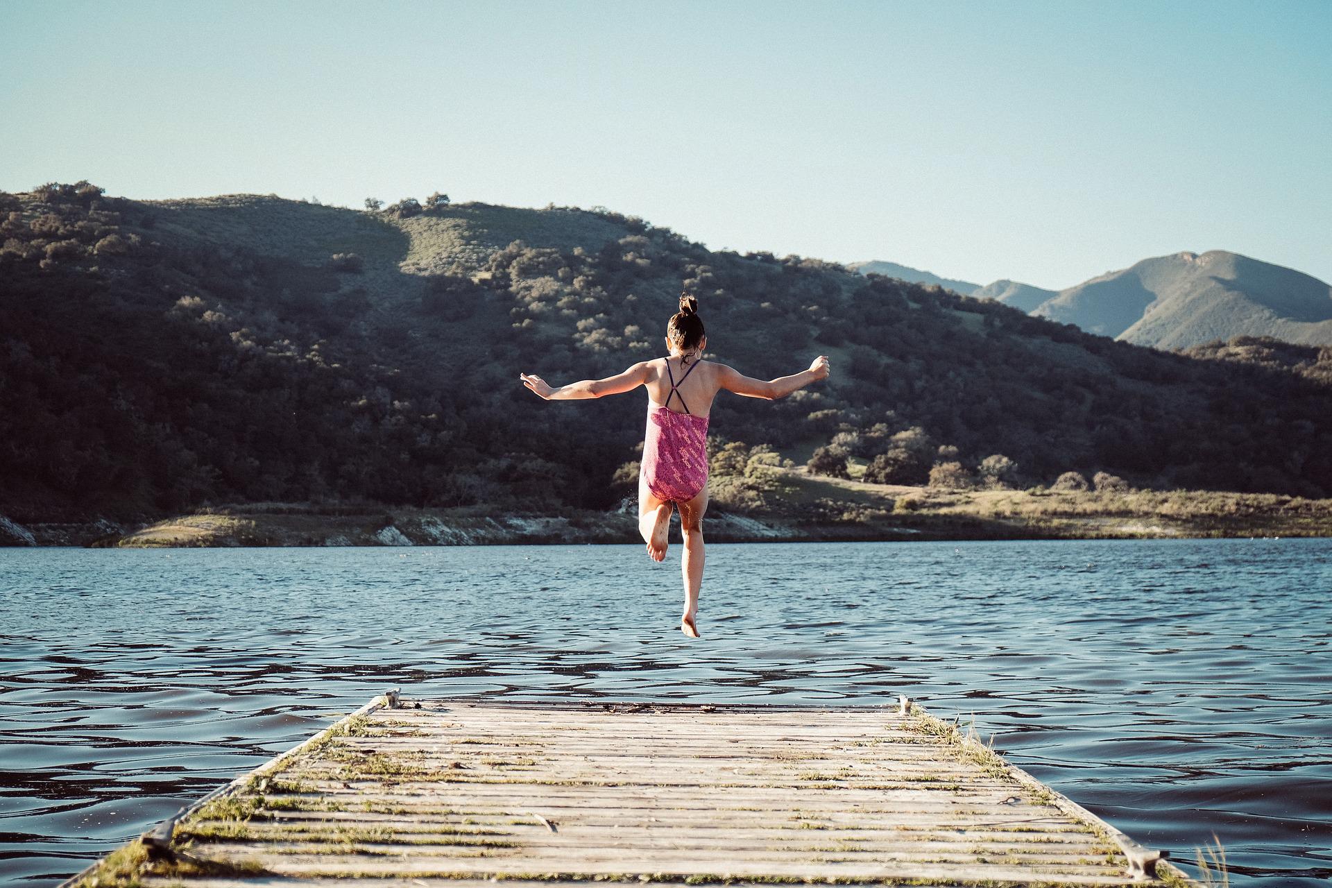 summer, lake, girl jumping in lake, summer kids