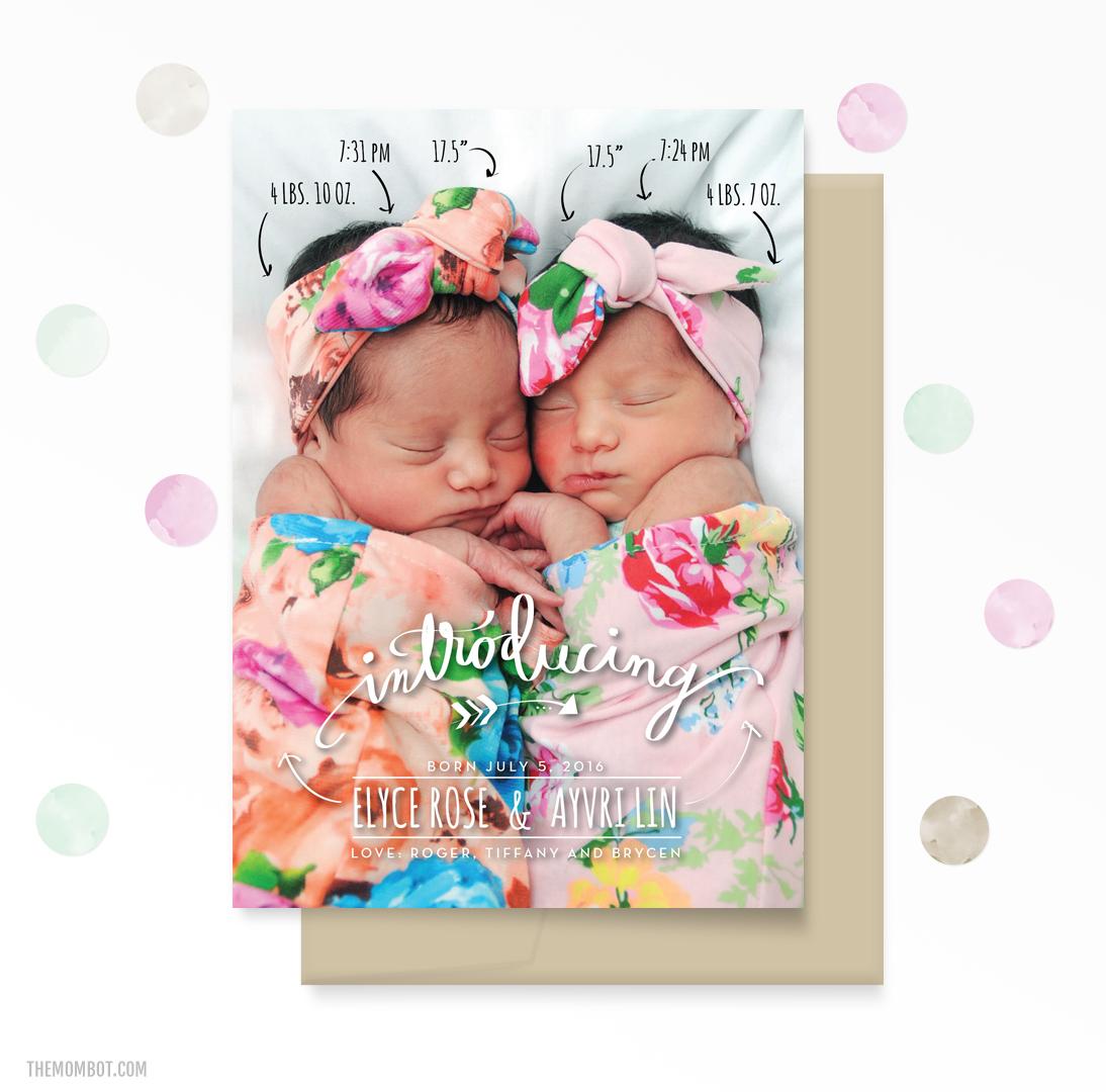 birth announcement, arrows, baby birth announcement, stats birth announcement, fun birth announcement, modern birth announcement, twins birth announcement