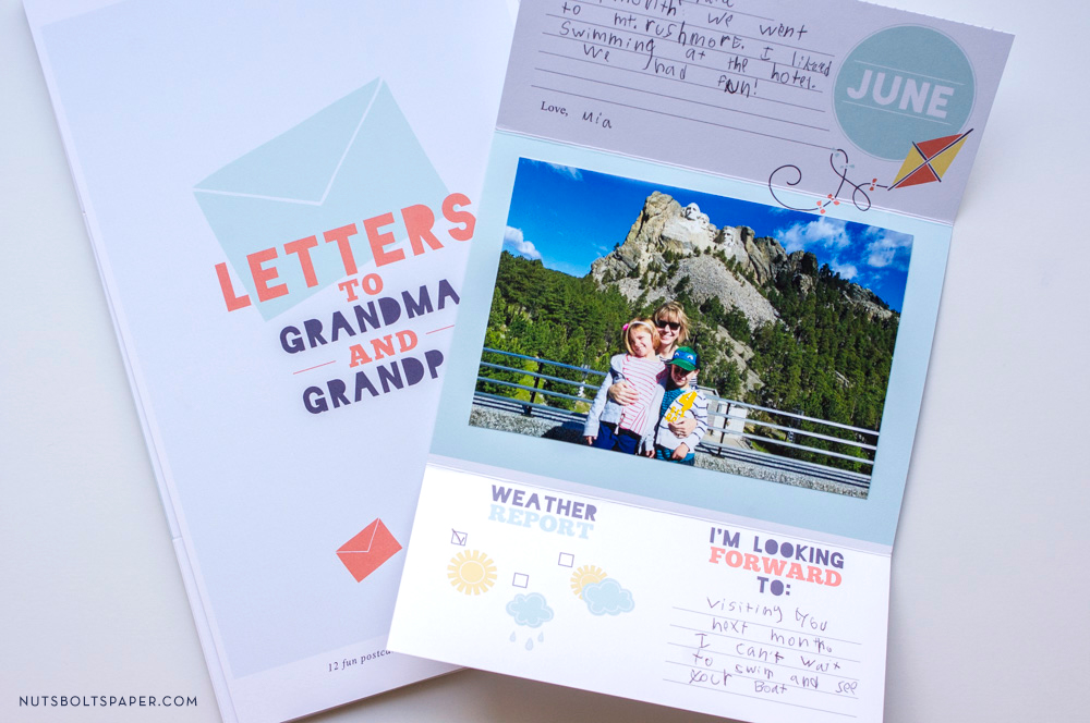 letters to grandma and grandpa, postcards for kids, postcards for grandparents, gifts for grandparents, kid letters