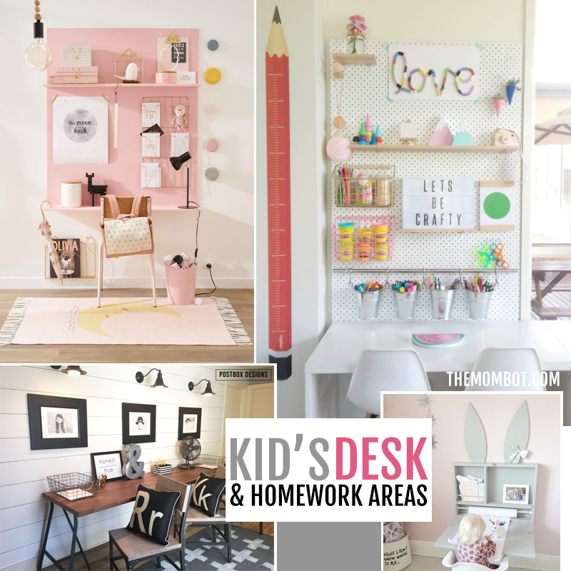 Kid's desks, kid's homework area, kid's homework desk, kid spaces