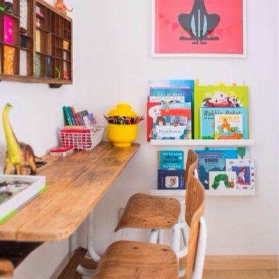 Kid's desks, kid's homework area, kid's homework desk, kid spaces, vintage desks, schoolhouse desks