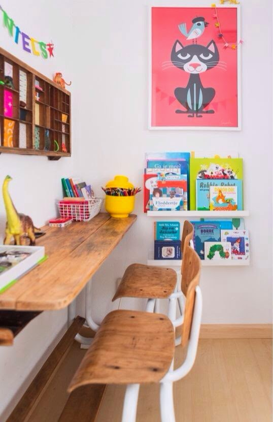 Kid's desks, kid's homework area, kid's homework desk, kid spaces, vintage desks, schoolhouse desks