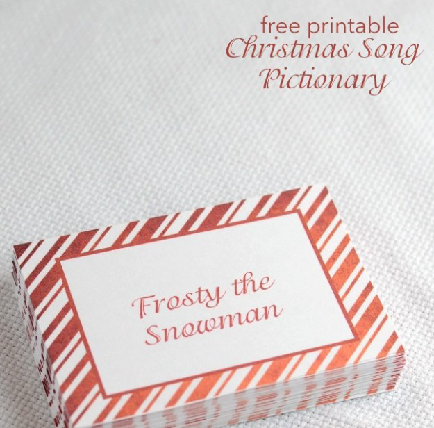 christmas song pictionery, christmas games, downloadable christmas games, Impromptu Fun Family Holiday Activities