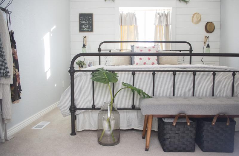 modern farmhouse bedroom, farmhouse bedroom, shiplap, shiplapped bedroom, Modern Farmhouse Bedroom Redesign