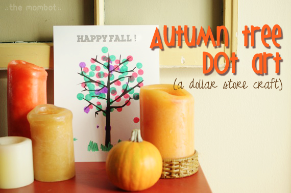 autumn tree dot art from the Dollar Store | TheMombot.com