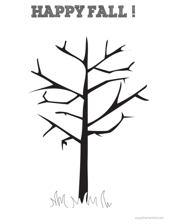 autumn tree dot art free printable | TheMombot.com