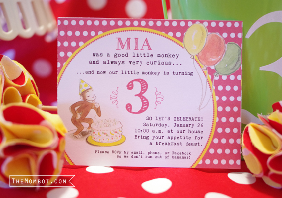 vintage curious george birthday party invitation | TheMombot.com
