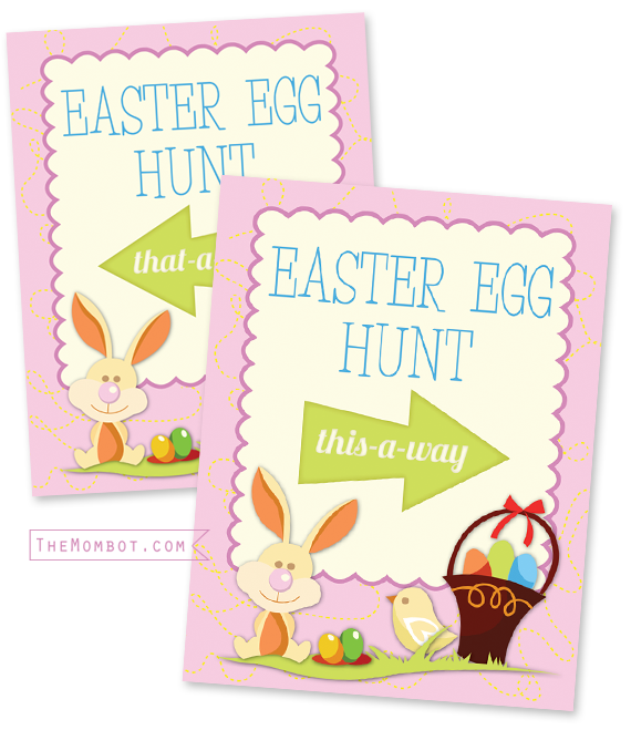 Free printable Easter Egg Hunt sign | TheMombot.com