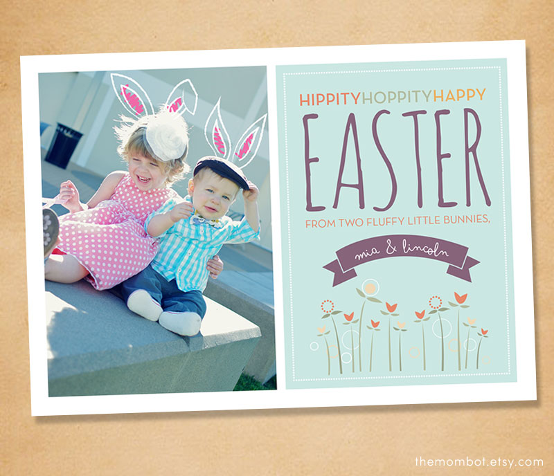 Easter photo card with bunny ears from themombot.etsy.com