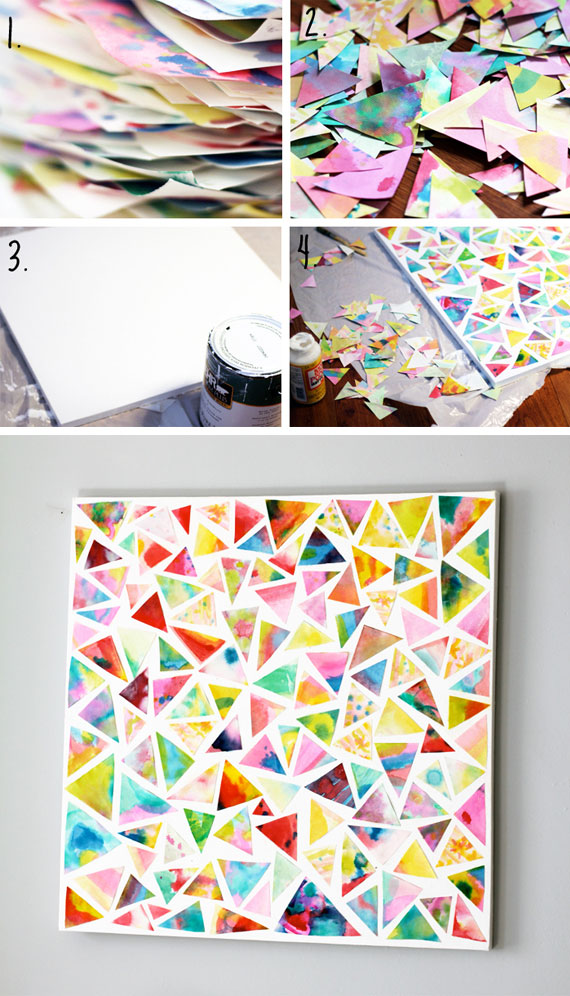 DIY artwork from children's watercolor creations | TheMombot.com