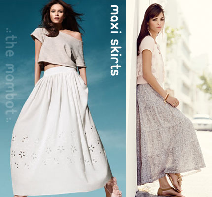 maxi skirts, spring fashion trends