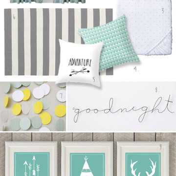 Nursery mood board: Grey/Mint/Yellow boy room