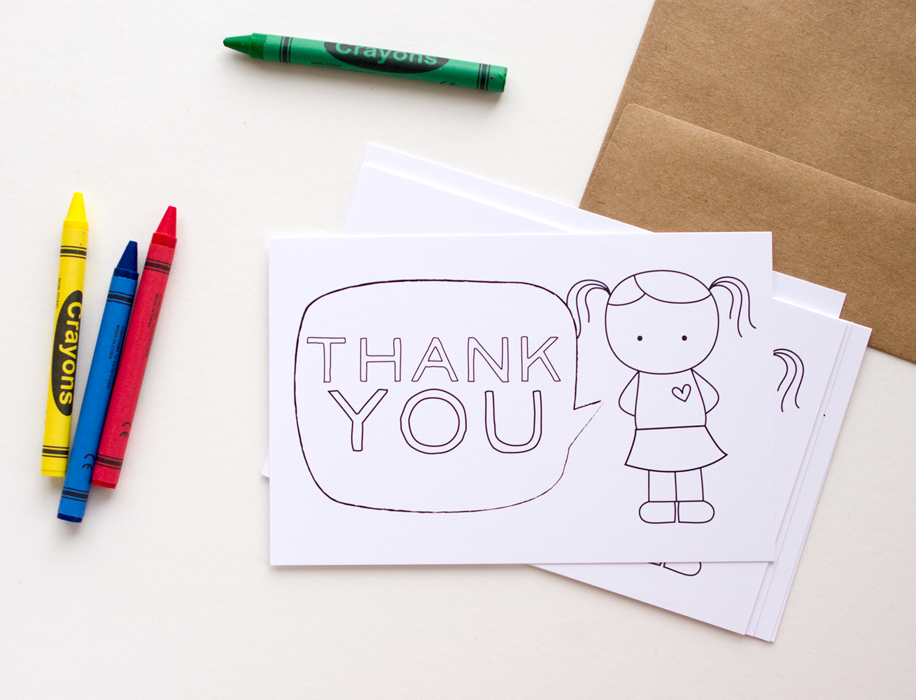printable colorin thank you cards for kids  the mombot